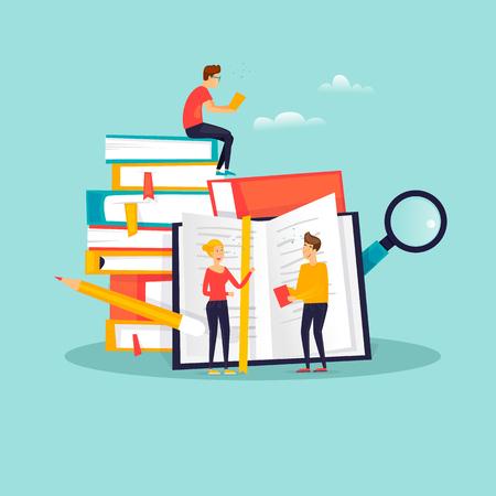 Illustration pour Online Education, training courses, tutorials, distance studying, e-learning. Flat design vector illustration. - image libre de droit