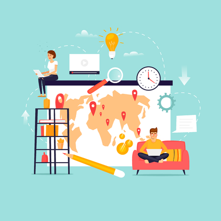 Illustration pour Freelance. Remote work. Team working. Home Office. Flat design vector illustration. - image libre de droit