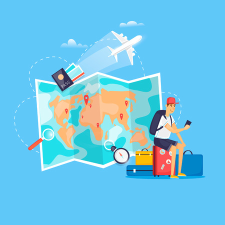 Ilustración de World Travel. Planning summer vacations. Airport. Holiday, journey. Tourism and vacation theme. Flat design vector illustration. - Imagen libre de derechos