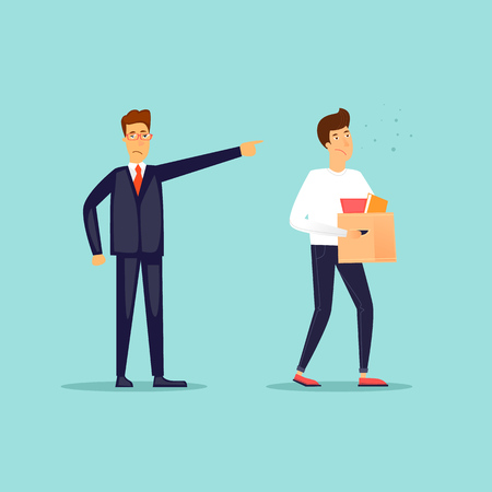 Illustration pour Boss fired an employee. Flat design vector illustration. - image libre de droit