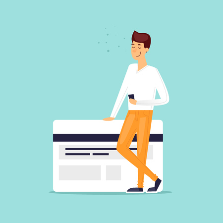 Illustration pour Payment by bank card, online, through the Internet. Flat design vector illustration. - image libre de droit