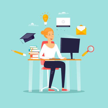 Illustration pour Online education, a girl is sitting at a computer, a student, courses. Flat design vector illustration. - image libre de droit