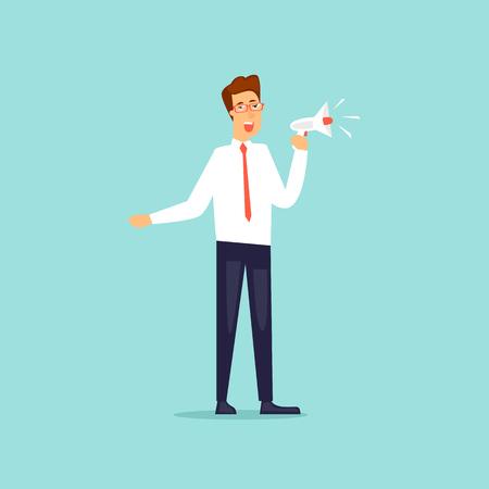 Illustration pour Businessman talking in loudspeaker. Flat design vector illustration. - image libre de droit