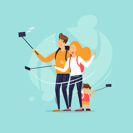 Ilustración de Family makes a selfie on a journey. Flat design vector illustration. - Imagen libre de derechos