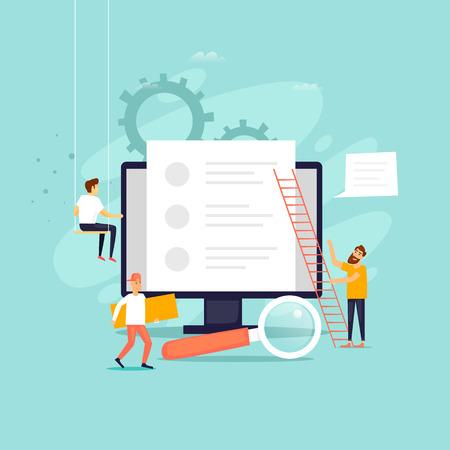 Illustration pour Copyright, blogging, people work near a computer, Internet. Flat design vector illustration. - image libre de droit