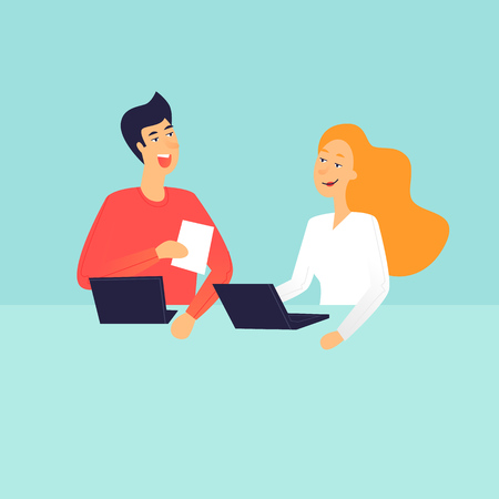 Illustration for Man and woman talking, office life. Flat design vector illustration. - Royalty Free Image