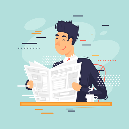 Illustration pour Businessman reading a newspaper, morning coffee. Flat vector illustration in cartoon style. - image libre de droit