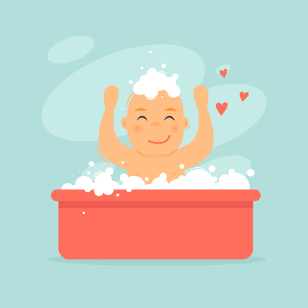 Ilustración de Baby is bathing in the bath. Flat design vector illustration - Imagen libre de derechos
