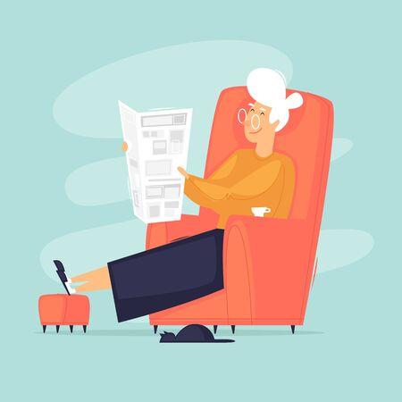 Illustration pour Grandmother is sitting in a chair reading a newspaper. Flat design vector illustration. - image libre de droit
