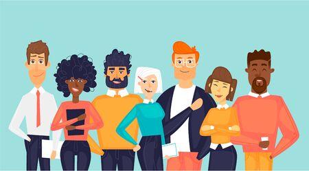 Ilustración de Multinational team. Flat design vector illustration. - Imagen libre de derechos