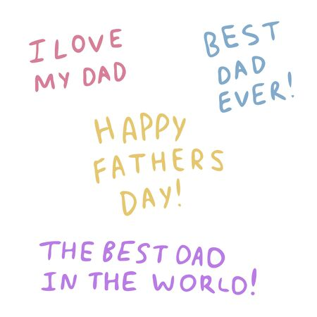 Illustration pour Different inscriptions for father day in the style of Doodle. - image libre de droit