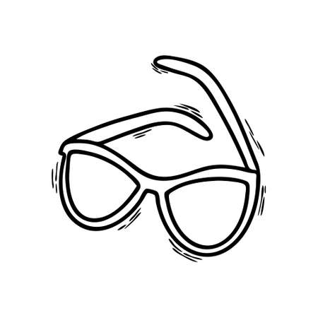 Illustration of Doodle glasses isolated on a white background. Sunglasses. Vision protection. Glasses for vision. Vision correction. Icon or symbol. Vector illustration.