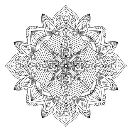 Illustration pour Coloring page zendal. Design for meditation, yoga, relaxation.vector mandala black outline isolated on white background. - image libre de droit