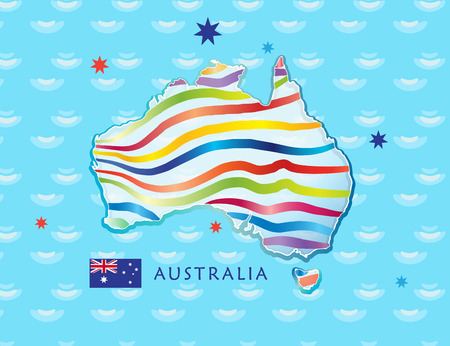 Map of Australia for Celebration Australia Day 26th January. Poster with Australia map, Australian flag, stars and fireworks. Holiday vector illustration. Festive abstract sea background background. For Advertising, Traveling, Promotion, Celebration, Cong