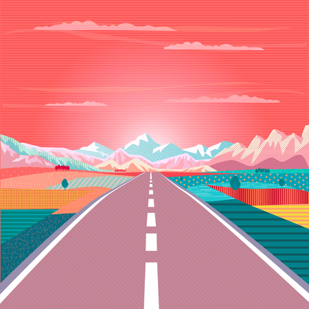 Ilustración de Summer painting poster Road trip to rocky mountains vector illustration. - Imagen libre de derechos