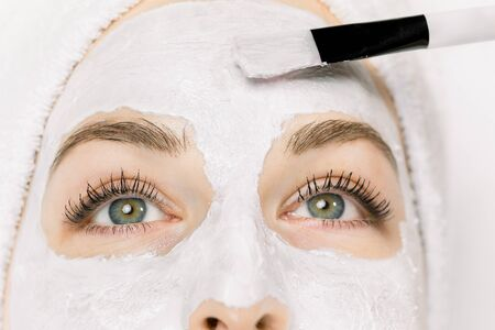 Photo pour Cropped close up of half of female pretty face and beautician brush applying white mud facial mask on skin. Dermatology and cosmetology therapy, spa recreation, skincare. Top view. - image libre de droit