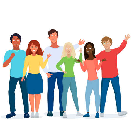 Illustration pour Multicultural students flat vector illustration. Young girls and boys waving isolated characters. Concept of friendship day, Diverse cultures. Happy teenager in casual clothes. Youth lifestyle. - image libre de droit