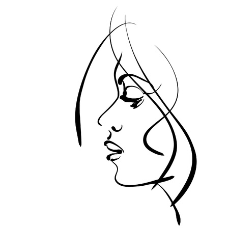 art sketching beautiful girl face symbols.