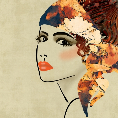 art colorful sketching beautiful girl face on sepia  background, in art deco style