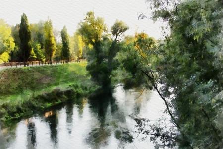 art watercolor background with europen landscape