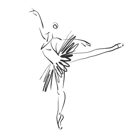 art sketched beautiful young ballerina in ballet pose