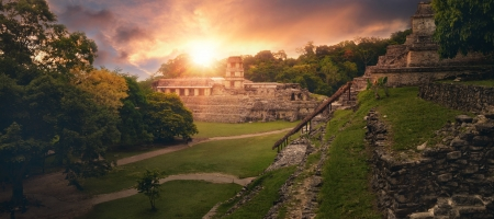 The panoramic view from the pyramid of Inscriptions and the Palace of the observatory tower in the ancient Mayan city of Palenque