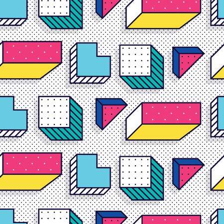 Ilustración de Seamless pattern in memphis style - Imagen libre de derechos