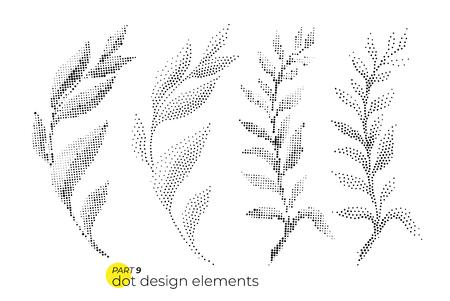 Illustration pour Universal trend dotty leaves set. Dotted bright bold elements co - image libre de droit
