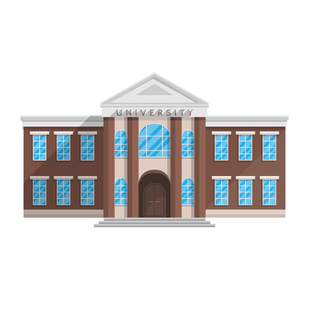 Illustration pour University building in flat style isolated on white background Vector illustration. Training of higher education science. - image libre de droit