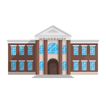 Foto de University building in flat style isolated on white background Vector illustration. Training of higher education science. - Imagen libre de derechos