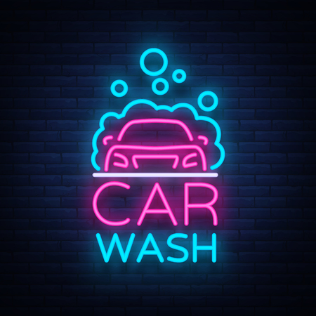 Illustration for Car wash logo vector design in neon style vector illustration isolated. Template, concept, luminous signboard icon on a car wash theme. Luminous banner. - Royalty Free Image