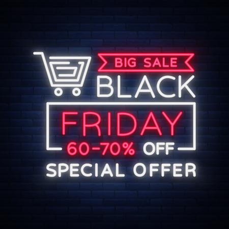 Ilustración de Black Friday vector isolated, poster banner in neon style. Bright sign sales Black Friday discounts - Imagen libre de derechos