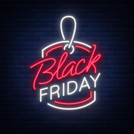 Ilustración de Black Friday neon advertising, discounts, sales, neon bright banner sign. Glowing sign for your projects - Imagen libre de derechos