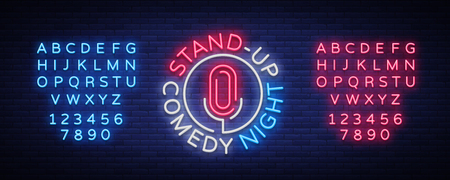 Illustration pour Stand Up Comedy Show is a neon sign. Neon logo, bright luminous banner, neon poster, bright night-time advertisement. Stand up show. Invitation to the Comedy Show. Vector. Editing text neon sign - image libre de droit