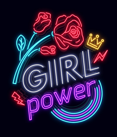 Illustration pour Rock print and slogan vector. Girl Power For T-shirt or other purposes. Symbol of feminism for printing in a neon style with flowers . Womens fashion slogan - image libre de droit