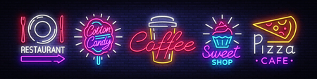 Illustration for Big collection neon signs on theme food. Set neon signs Restaurant, Sweets, Pizza, Fruits, Cotton Candy, Coffee. Neon banner, light logo emblems, nightly vibrant advertising. Vector illustration. - Royalty Free Image