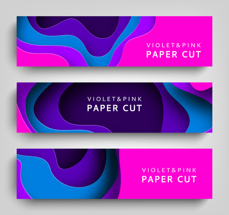 Ilustración de Paper cut set horizontal banners vector background. Paper art is violet and blue colors. Square template with paper figures. Bright modern design for poster, flyer, poster, postcard - Imagen libre de derechos