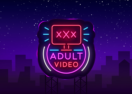 Illustration pour Adult video neon sign. Design template, neon logo xxx video, sex industry, light banner, night bright light advertisement. Vector illustration. Billboard - image libre de droit