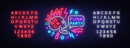 Illustration pour Punk Party Neon Sign Vector. Rock music logo, night neon signboard, design element invitation to Rock party, concert, festival, night bright advertising, light banner. Vector. Editing text neon sign - image libre de droit