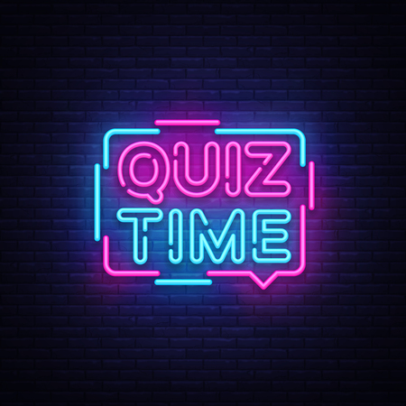 Ilustración de Quiz Time announcement poster neon signboard vector. Pub Quiz vintage styled neon glowing letters shining, Light Banner, Questions team game.Vector illustration - Imagen libre de derechos