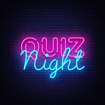 Quiz night announcement poster vector design template. Quiz night neon signboard, light banner. Pub quiz held in pub or bar, night club. Pub team game. Questions game bright retro light sign. Vector