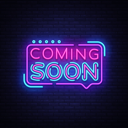 Ilustración de Coming Soon Neon Sign Vector. Coming Soon Badge in neon style, design element, light banner, announcement neon signboard, night neon advensing. Vector Illustration - Imagen libre de derechos