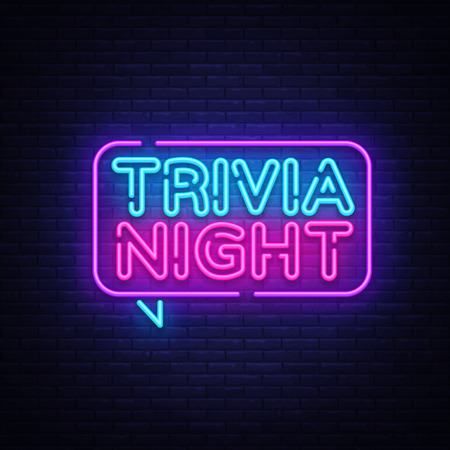 Trivia night announcement neon signboard vector. Light Banner, Design element, Night Neon Advensing. Vector illustration.