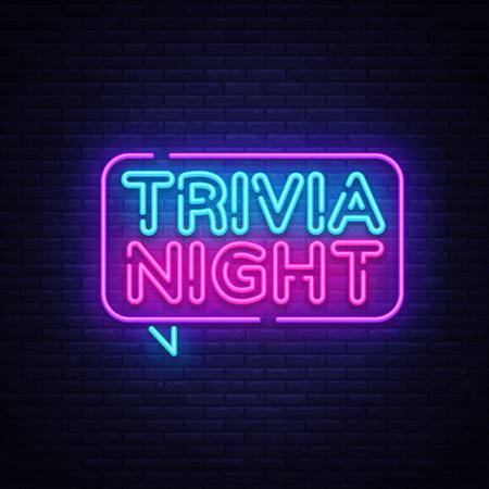 Illustration for Trivia night announcement neon signboard vector. Light Banner, Design element, Night Neon Advensing. Vector illustration. - Royalty Free Image