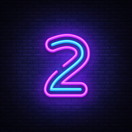 Illustration pour Number two symbol neon sign vector. Number two template neon icon, light banner, neon signboard, nightly bright advertising, light inscription. Vector illustration - image libre de droit