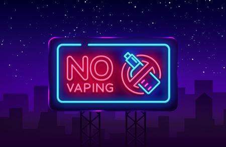 Illustration for No Vaping neon sign vector template, light banner, bright night illustration, symbol vaping ban, no vaping, electronic cigarette neon. Vector illustration. Billboard. - Royalty Free Image