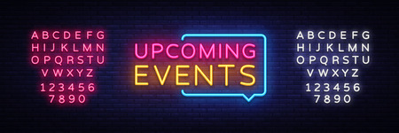 Illustration pour Upcoming Events neon signs vector. Upcoming Events design template neon sign, light banner, neon signboard, nightly bright advertising, light inscription. Vector illustration. Editing text neon sign. - image libre de droit