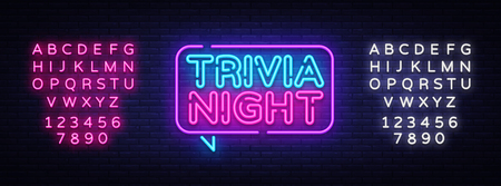 Ilustración de Trivia night announcement neon signboard vector. Light Banner, Design element, Night Neon Advensing. Vector illustration. Editing text neon sign. - Imagen libre de derechos