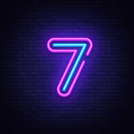 Illustration for Number seven symbol neon sign vector. Seventh, Number seven template neon icon, light banner, neon signboard, nightly bright advertising, light inscription. Vector illustration. - Royalty Free Image