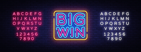 Illustration pour Big Win neon sign vector. Big Win Design template neon sign, light banner, neon signboard, nightly bright advertising, light inscription. Vector illustration. Editing text neon sign. - image libre de droit